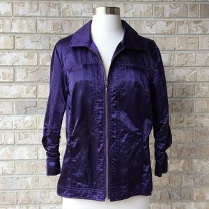 Chico's Jacket  Zip Front 3/4 Sleeves Size 1 🌸